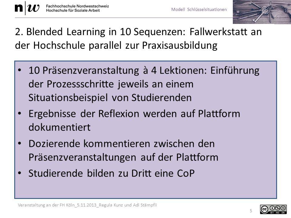 Veranstaltung an der FH Köln_5.11.2013_Regula Kunz und Adi Stämpfli Modell Schlüsselsituationen 16 Qualitätsstandards Die wesentlichen Werte, die in einer Situation zum Tragen kommen, herausar- beiten und die eigene Haltung zu diesen Werten diskutieren.