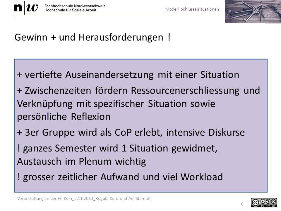 Veranstaltung an der FH Köln_5.11.2013_Regula Kunz und Adi Stämpfli Modell Schlüsselsituationen 6 Gewinn + und Herausforderungen ! + vertiefte Auseina