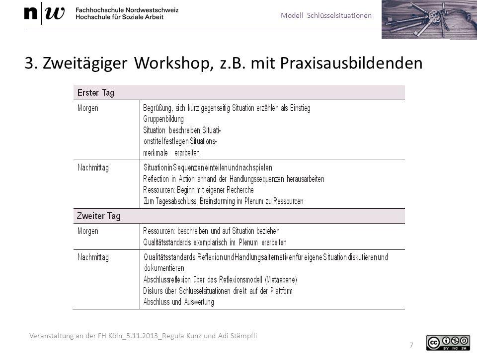 Veranstaltung an der FH Köln_5.11.2013_Regula Kunz und Adi Stämpfli Modell Schlüsselsituationen 18 Entwicklung von Handlungsalternativen Sich kritisch damit auseinandersetzen, wie Kollegen und Kolleginnen in ähnli- chen Situationen handeln.
