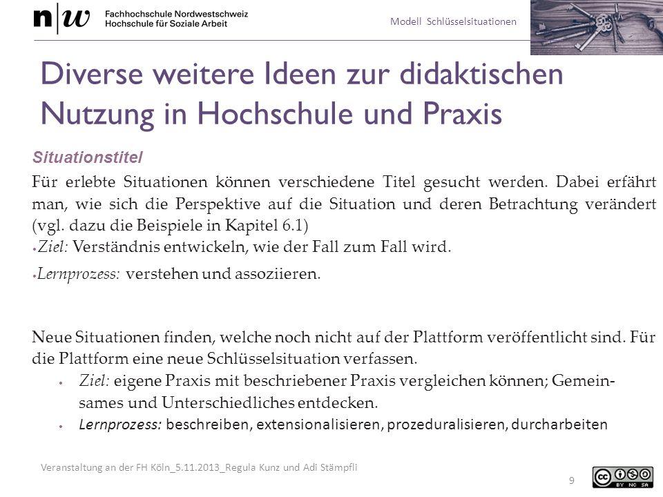 Veranstaltung an der FH Köln_5.11.2013_Regula Kunz und Adi Stämpfli Modell Schlüsselsituationen 20 Und noch mehr Ideen zur Nutzung von Schlüsselsituationen Plattform als Nachschlagewerk nutzen, um wissens- und wertebasiert zu planen, zu reflektieren, zu handeln.