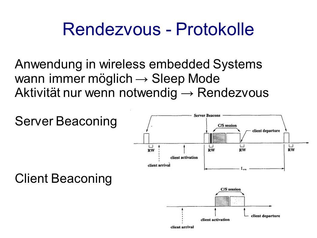 Rendezvous - Protokolle Anwendung in wireless embedded Systems wann immer möglich Sleep Mode Aktivität nur wenn notwendig Rendezvous Server Beaconing Client Beaconing