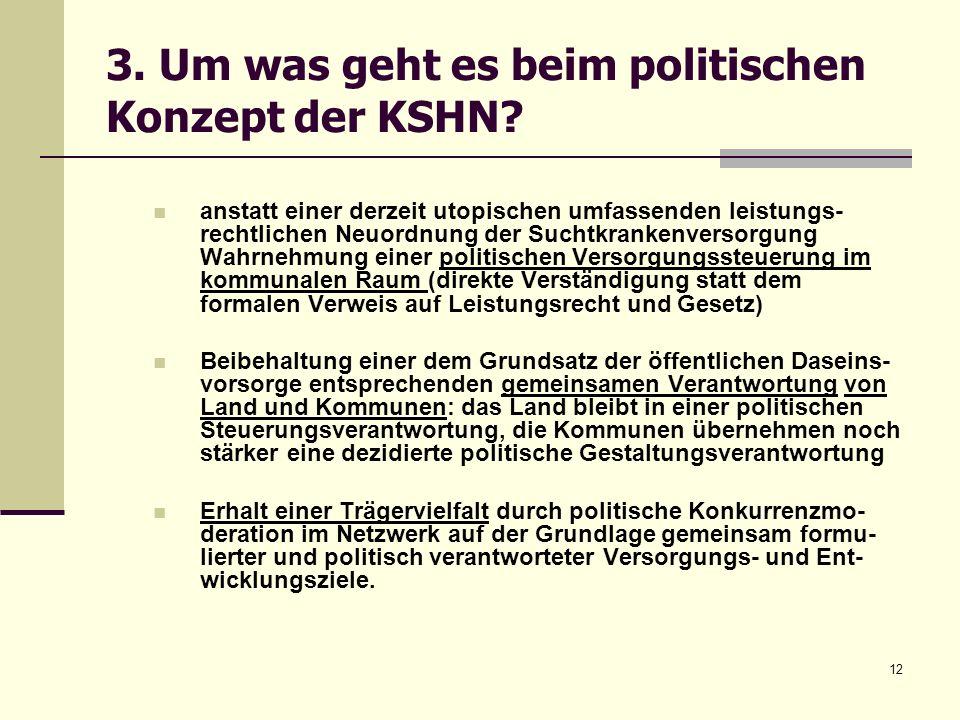 12 3. Um was geht es beim politischen Konzept der KSHN? anstatt einer derzeit utopischen umfassenden leistungs- rechtlichen Neuordnung der Suchtkranke