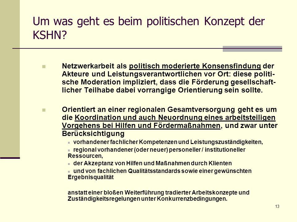13 Um was geht es beim politischen Konzept der KSHN? Netzwerkarbeit als politisch moderierte Konsensfindung der Akteure und Leistungsverantwortlichen