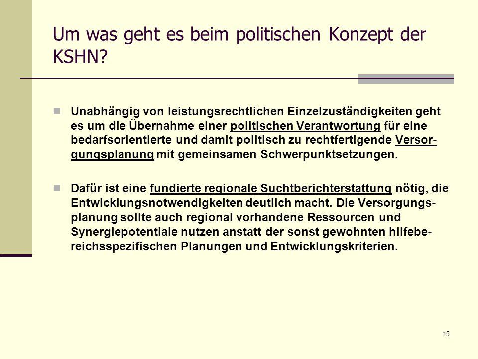 15 Um was geht es beim politischen Konzept der KSHN? Unabhängig von leistungsrechtlichen Einzelzuständigkeiten geht es um die Übernahme einer politisc