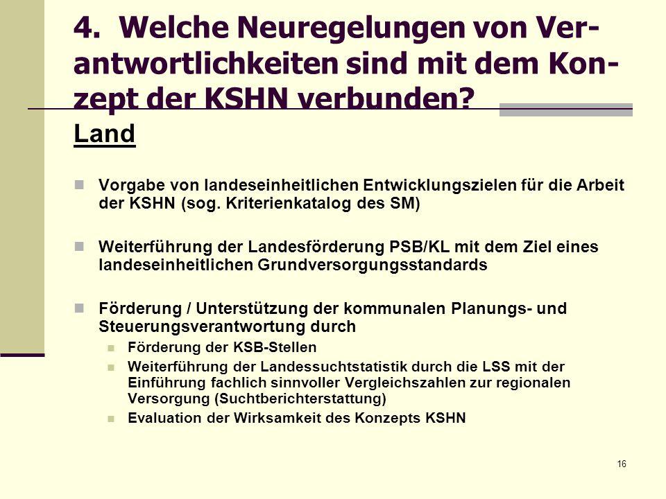 16 4. Welche Neuregelungen von Ver- antwortlichkeiten sind mit dem Kon- zept der KSHN verbunden? Land Vorgabe von landeseinheitlichen Entwicklungsziel