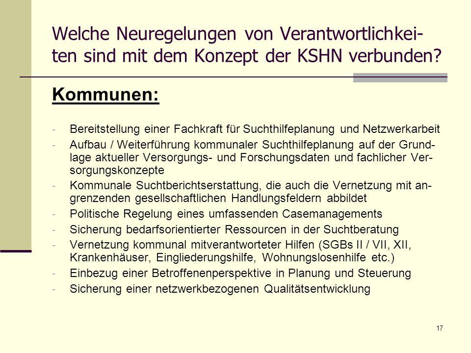 17 Welche Neuregelungen von Verantwortlichkei- ten sind mit dem Konzept der KSHN verbunden? Kommunen: - Bereitstellung einer Fachkraft für Suchthilfep