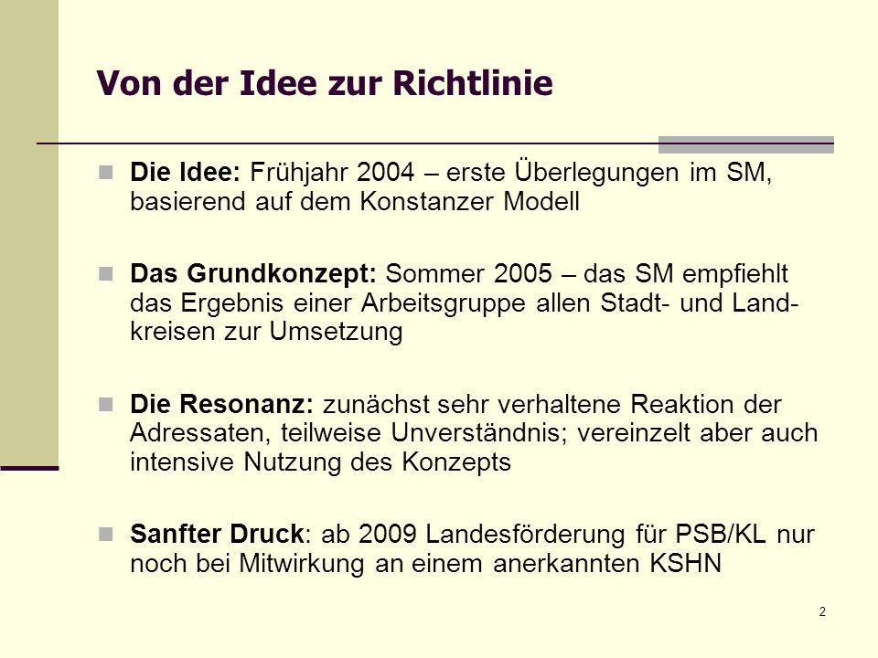 2 Von der Idee zur Richtlinie Die Idee: Frühjahr 2004 – erste Überlegungen im SM, basierend auf dem Konstanzer Modell Das Grundkonzept: Sommer 2005 –