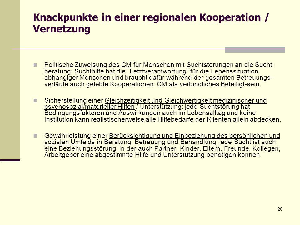 20 Knackpunkte in einer regionalen Kooperation / Vernetzung Politische Zuweisung des CM für Menschen mit Suchtstörungen an die Sucht- beratung: Suchth