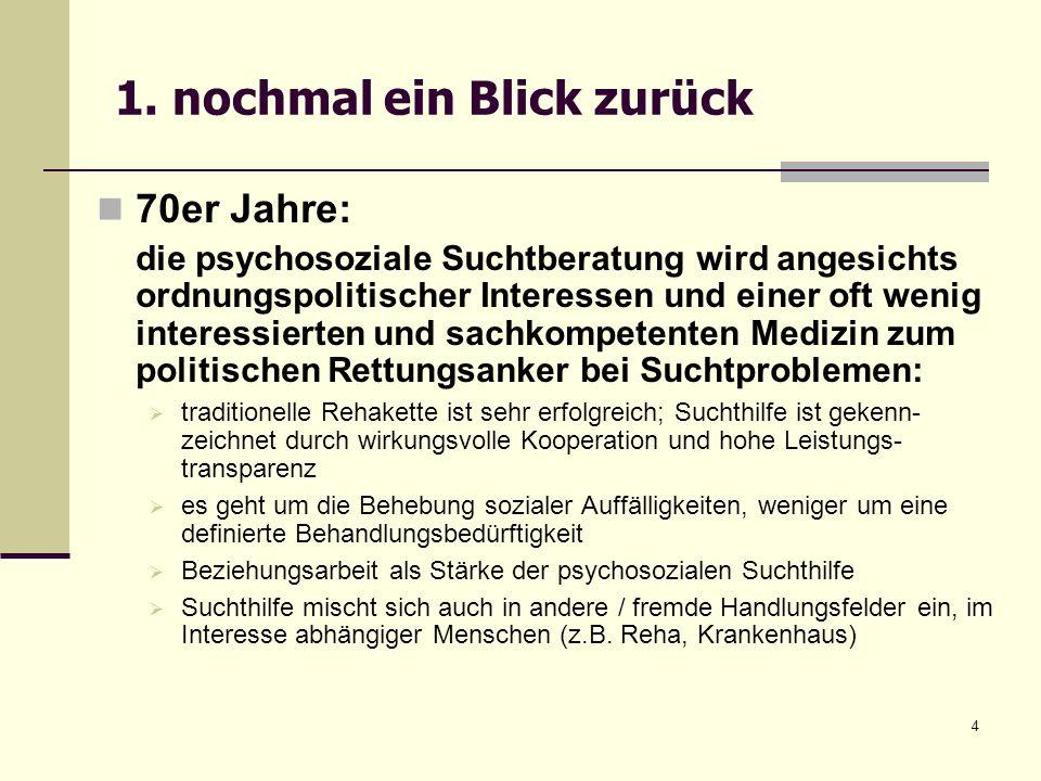 4 1. nochmal ein Blick zurück 70er Jahre: die psychosoziale Suchtberatung wird angesichts ordnungspolitischer Interessen und einer oft wenig interessi
