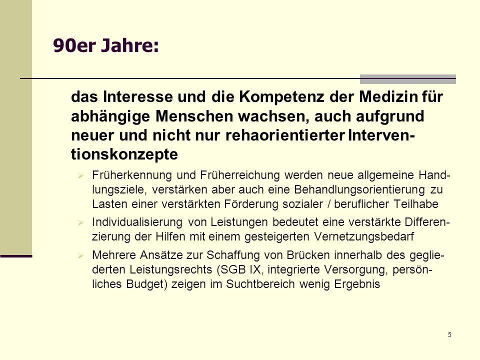 5 90er Jahre: das Interesse und die Kompetenz der Medizin für abhängige Menschen wachsen, auch aufgrund neuer und nicht nur rehaorientierter Interven-