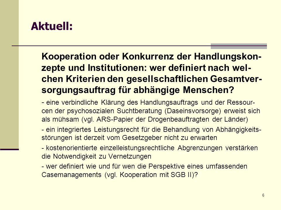 6 Aktuell: Kooperation oder Konkurrenz der Handlungskon- zepte und Institutionen: wer definiert nach wel- chen Kriterien den gesellschaftlichen Gesamt