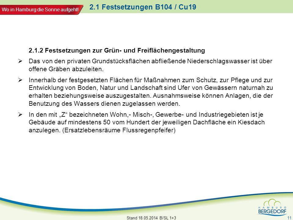 Wo in Hamburg die Sonne aufgeht! 2.1 Festsetzungen B104 / Cu19 2.1.2 Festsetzungen zur Grün- und Freiflächengestaltung Das von den privaten Grundstück