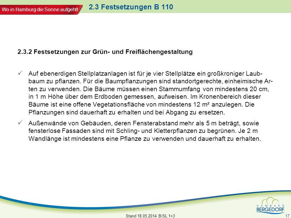 Wo in Hamburg die Sonne aufgeht! 2.3 Festsetzungen B 110 2.3.2 Festsetzungen zur Grün- und Freiflächengestaltung Auf ebenerdigen Stellplatzanlagen ist