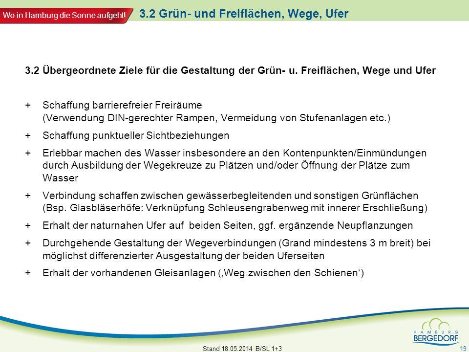 Wo in Hamburg die Sonne aufgeht! 3.2 Grün- und Freiflächen, Wege, Ufer 3.2 Übergeordnete Ziele für die Gestaltung der Grün- u. Freiflächen, Wege und U
