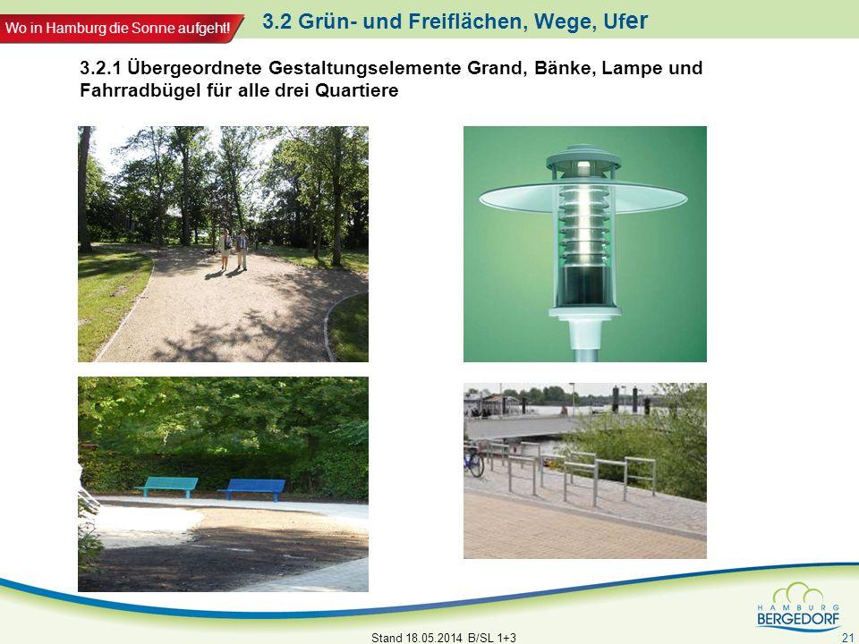Wo in Hamburg die Sonne aufgeht! 3.2 Grün- und Freiflächen, Wege, Uf er Stand 18.05.2014 B/SL 1+3 21 3.2.1 Übergeordnete Gestaltungselemente Grand, Bä
