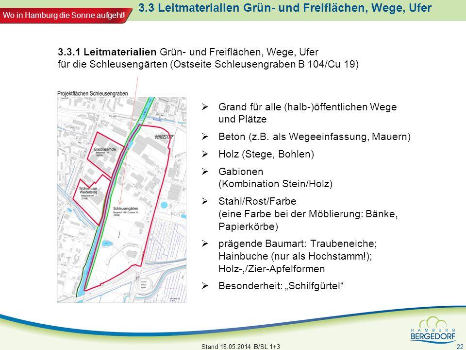 Wo in Hamburg die Sonne aufgeht! 3.3 Leitmaterialien Grün- und Freiflächen, Wege, Ufer Grand für alle (halb-)öffentlichen Wege und Plätze Beton (z.B.