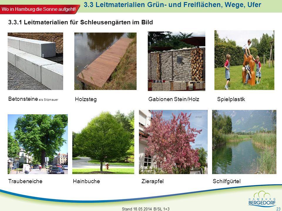 Wo in Hamburg die Sonne aufgeht! 3.3 Leitmaterialien Grün- und Freiflächen, Wege, Ufer Stand 18.05.2014 B/SL 1+3 23 Betonsteine als Sitzmauer Holzsteg