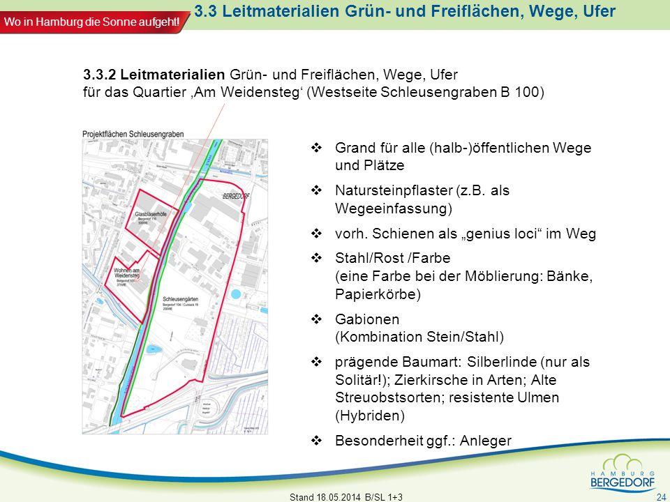 Wo in Hamburg die Sonne aufgeht! 3.3 Leitmaterialien Grün- und Freiflächen, Wege, Ufer Grand für alle (halb-)öffentlichen Wege und Plätze Natursteinpf