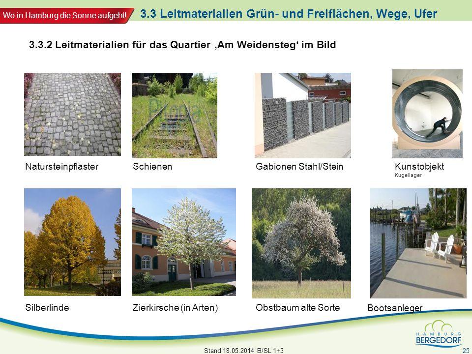 Wo in Hamburg die Sonne aufgeht! 3.3 Leitmaterialien Grün- und Freiflächen, Wege, Ufer Stand 18.05.2014 B/SL 1+3 25 3.3.2 Leitmaterialien für das Quar