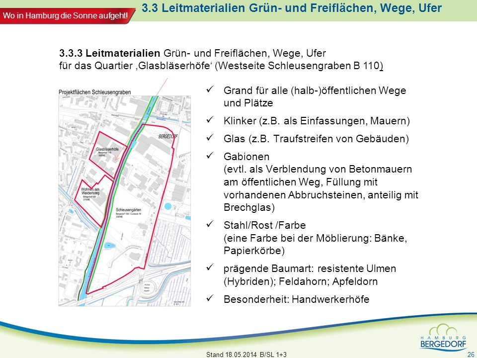 Wo in Hamburg die Sonne aufgeht! 3.3 Leitmaterialien Grün- und Freiflächen, Wege, Ufer Grand für alle (halb-)öffentlichen Wege und Plätze Klinker (z.B