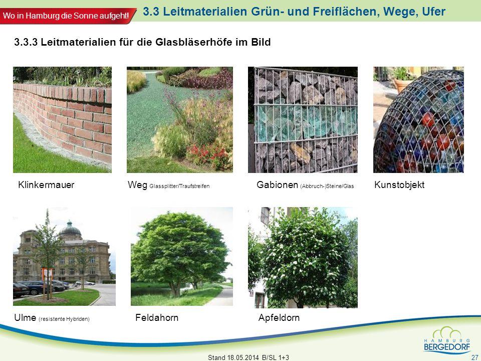 Wo in Hamburg die Sonne aufgeht! Stand 18.05.2014 B/SL 1+3 27 ApfeldornFeldahorn KlinkermauerGabionen (Abbruch-)Steine/Glas 3.3.3 Leitmaterialien für