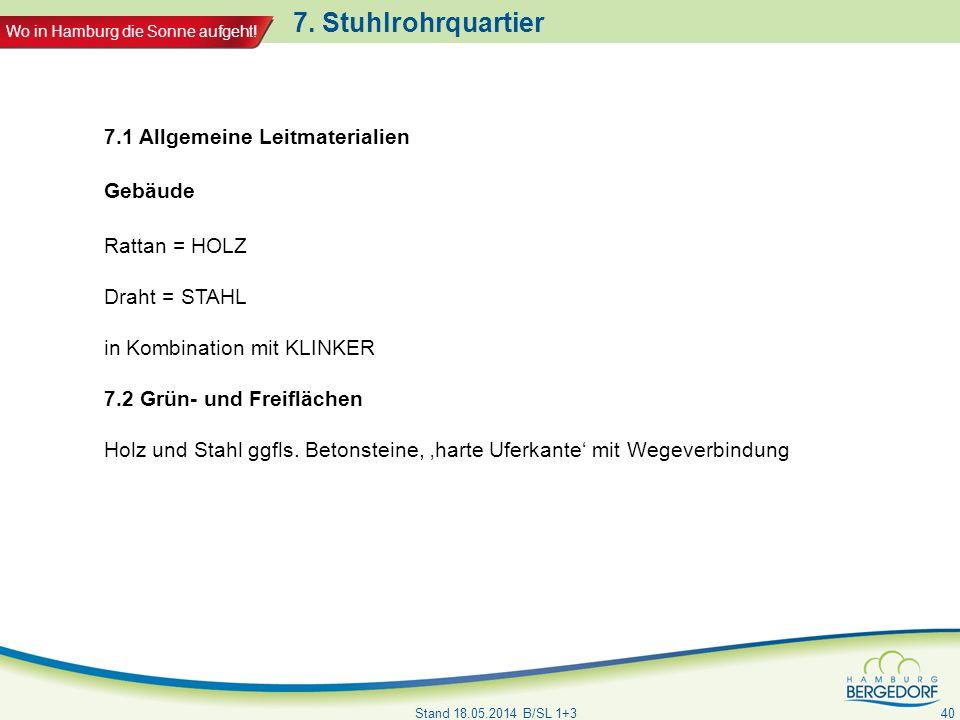Wo in Hamburg die Sonne aufgeht! 7. Stuhlrohrquartier Stand 18.05.2014 B/SL 1+3 40 7.1 Allgemeine Leitmaterialien Gebäude Rattan = HOLZ Draht = STAHL