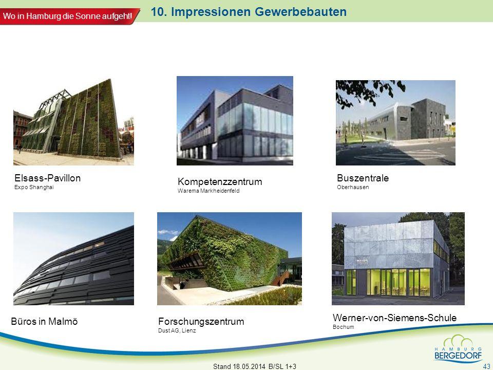 Wo in Hamburg die Sonne aufgeht! 10. Impressionen Gewerbebauten Stand 18.05.2014 B/SL 1+3 43 Büros in Malmö Elsass-Pavillon Expo Shanghai Forschungsze