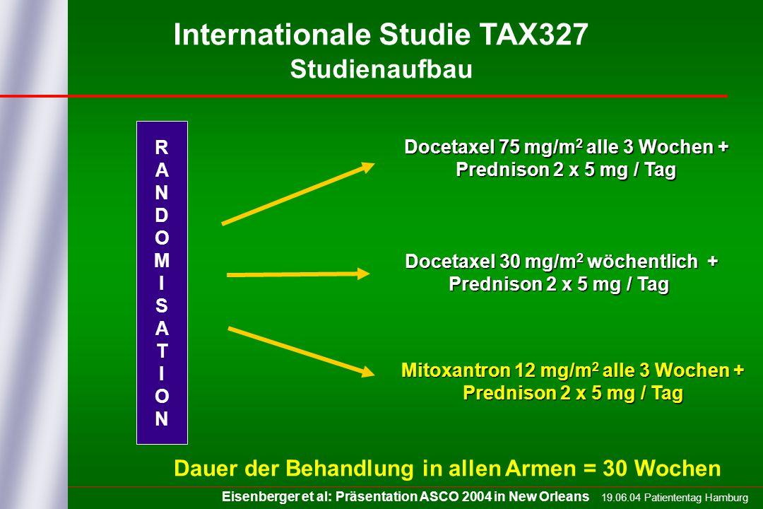 19.06.04 Patiententag Hamburg Internationale Studie TAX327 Studienaufbau Docetaxel 75 mg/m 2 alle 3 Wochen + Prednison 2 x 5 mg / Tag Mitoxantron 12 m