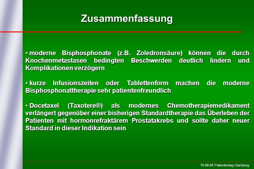 19.06.04 Patiententag Hamburg Zusammenfassung moderne Bisphosphonate (z.B. Zoledronsäure) können die durch Knochenmetastasen bedingten Beschwerden deu