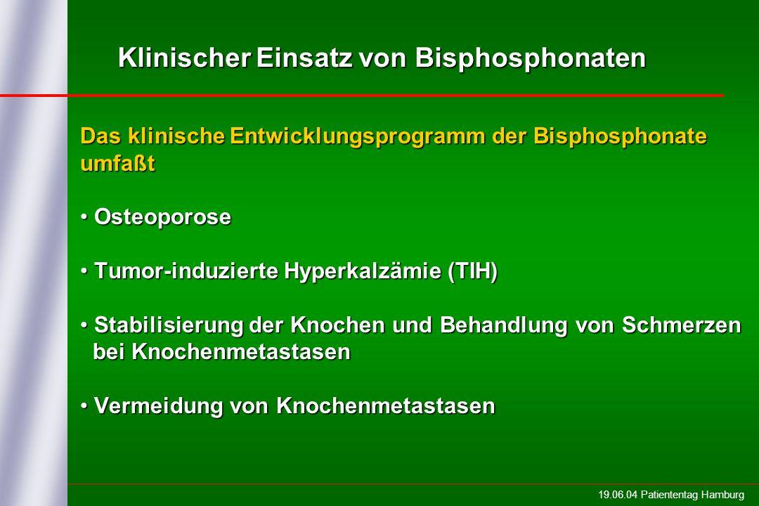 19.06.04 Patiententag Hamburg Klinischer Einsatz von Bisphosphonaten Das klinische Entwicklungsprogramm der Bisphosphonate umfaßt Osteoporose Osteopor