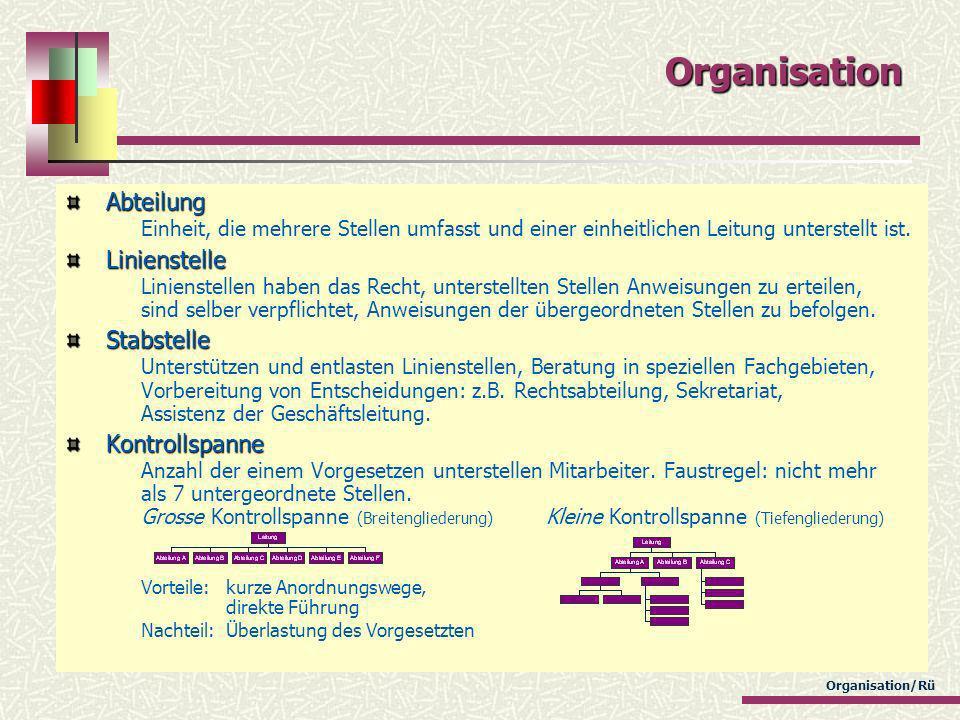Organisation/Rü Organisation Abteilung Abteilung Einheit, die mehrere Stellen umfasst und einer einheitlichen Leitung unterstellt ist. Linienstelle Li