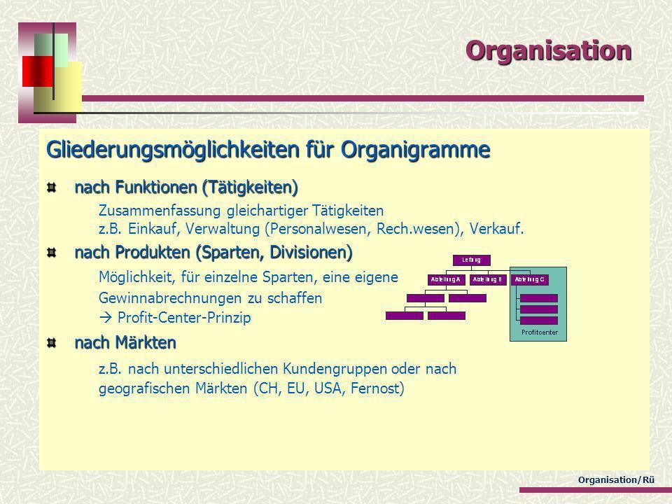 Organisation/Rü Organisation Gliederungsmöglichkeiten für Organigramme nach Funktionen (Tätigkeiten) nach Funktionen (Tätigkeiten) Zusammenfassung gle