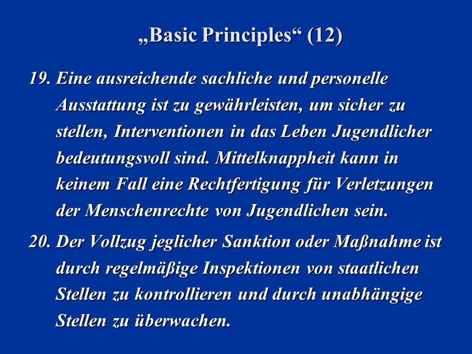 Basic Principles (12) 19.Eine ausreichende sachliche und personelle Ausstattung ist zu gewährleisten, um sicher zu stellen, Interventionen in das Lebe