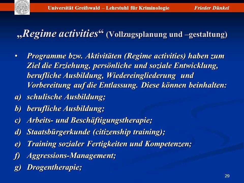 Universität Greifswald – Lehrstuhl für KriminologieFrieder Dünkel 29 Regime activities (Vollzugsplanung und –gestaltung)Regime activities (Vollzugspla