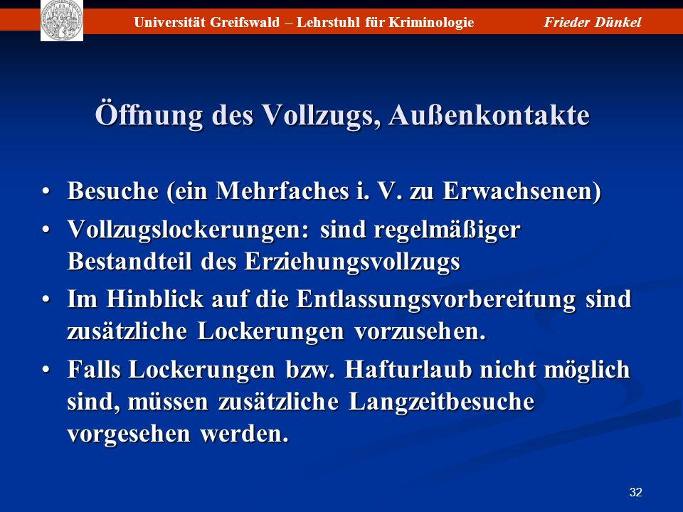 Universität Greifswald – Lehrstuhl für KriminologieFrieder Dünkel 32 Öffnung des Vollzugs, Außenkontakte Besuche (ein Mehrfaches i. V. zu Erwachsenen)