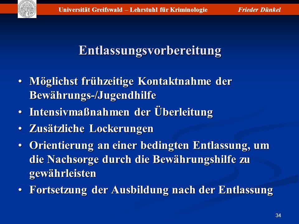 Universität Greifswald – Lehrstuhl für KriminologieFrieder Dünkel 34 Entlassungsvorbereitung Möglichst frühzeitige Kontaktnahme der Bewährungs-/Jugend