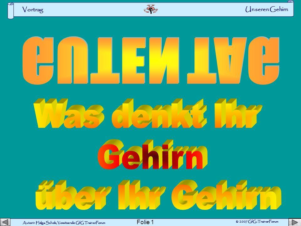 Autorin Helga Scholz, Vorsitzende GfG TrainerForum © 2007 GfG-TrainerForum Vortrag Folie 11 Übung Merkdauer GummibärchenII Fluide Intelligenz Quelle: GehirnAktiv Web er Theil er