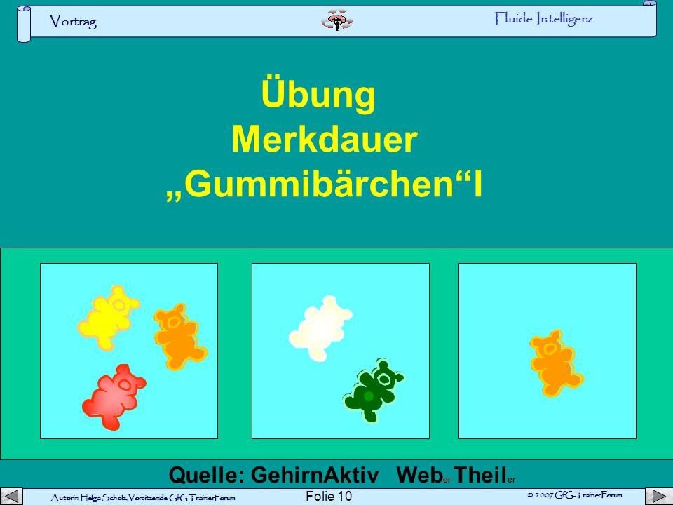 Autorin Helga Scholz, Vorsitzende GfG TrainerForum © 2007 GfG-TrainerForum Vortrag Folie 9 Umwelt Fluide Intelligenz KRISTALLISIERTE INTELLIGENZ Mensc