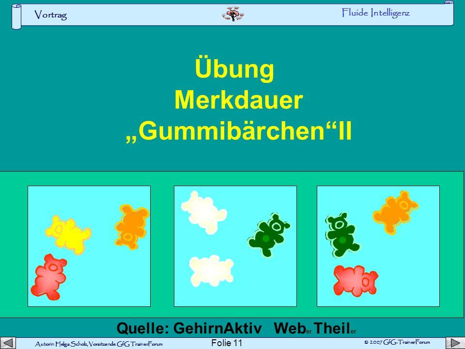 Autorin Helga Scholz, Vorsitzende GfG TrainerForum © 2007 GfG-TrainerForum Vortrag Folie 10 Übung Merkdauer GummibärchenI Fluide Intelligenz Quelle: G