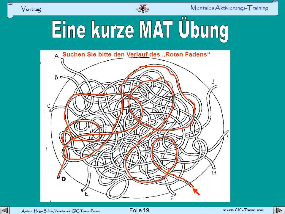 Autorin Helga Scholz, Vorsitzende GfG TrainerForum © 2007 GfG-TrainerForum Vortrag Folie 18 Geistige Leistungsfähigkeit 0 10 20 30 40 50 60 70 Jahre O