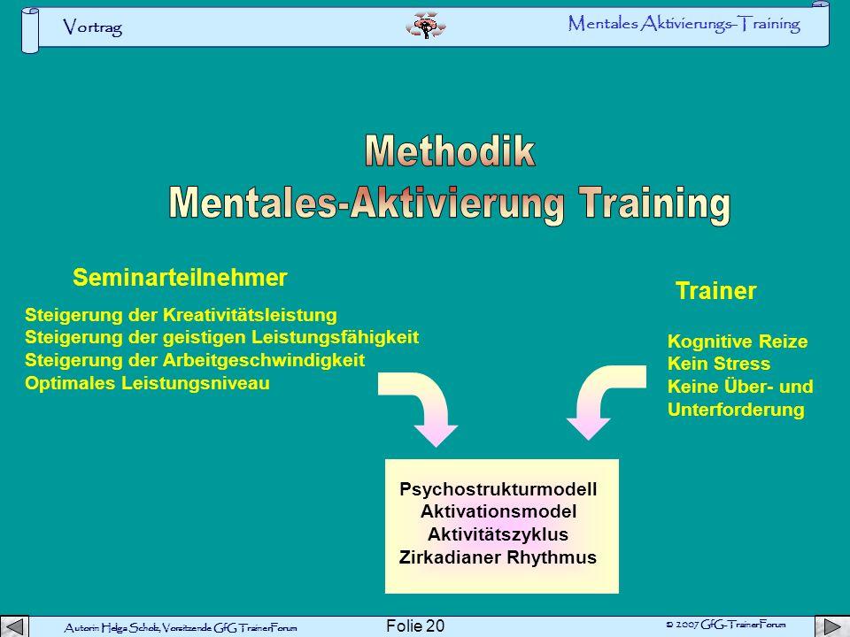Autorin Helga Scholz, Vorsitzende GfG TrainerForum © 2007 GfG-TrainerForum Vortrag Folie 19 Suchen Sie bitte den Verlauf des Roten Fadens D Mentales A