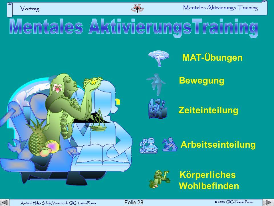 Autorin Helga Scholz, Vorsitzende GfG TrainerForum © 2007 GfG-TrainerForum Vortrag Folie 27 Mentales-Aktivierungs Training Optimale geistige Aktivieru