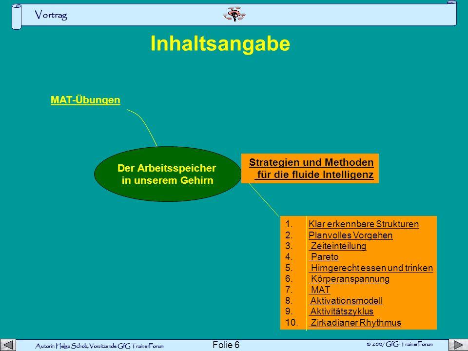 Autorin Helga Scholz, Vorsitzende GfG TrainerForum © 2007 GfG-TrainerForum Vortrag Folie 16 1 Hirngerecht essen und trinken Nervensignale werden im Gehirn von so genannten Neurotransmittern übertragen.