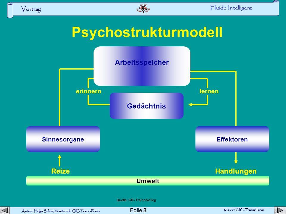 Autorin Helga Scholz, Vorsitzende GfG TrainerForum © 2007 GfG-TrainerForum Vortrag Folie 7 Quelle:R.B.:Theory of fluid and crystallized intelligenz: a