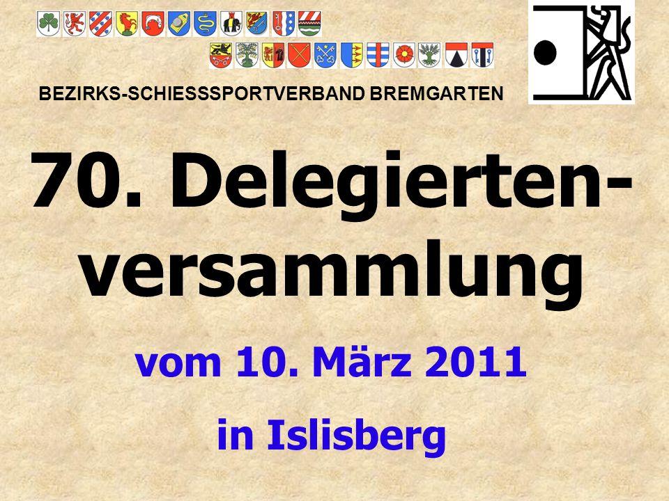 Begrüssung durch den Präsidenten Victor Hüsser BEZIRKS-SCHIESSSPORTVERBAND BREMGARTEN Traktandum 1