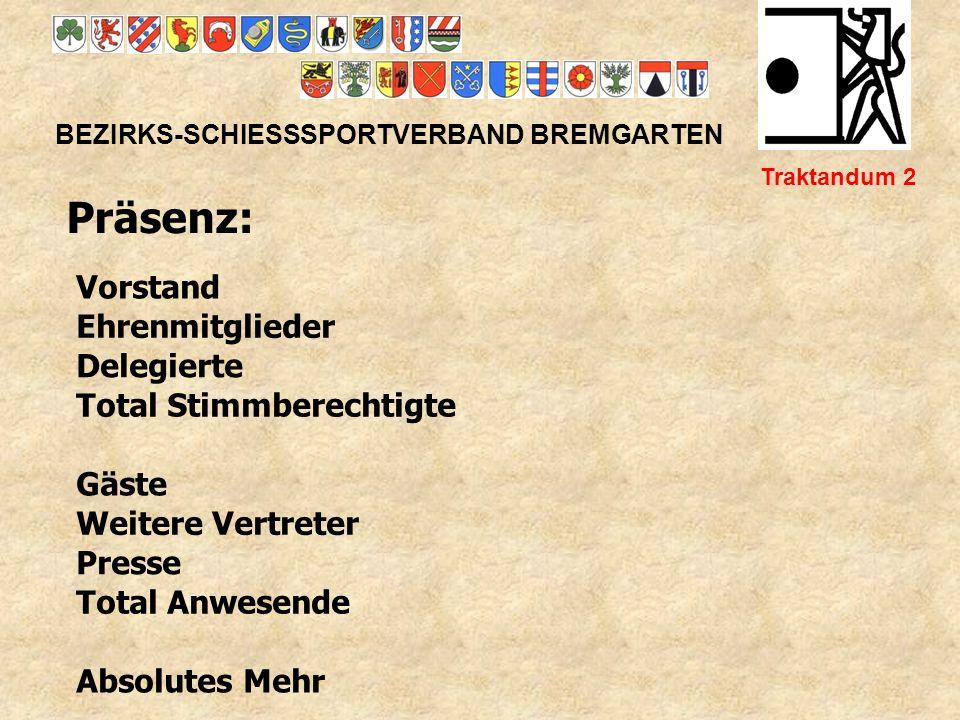 BEZIRKS-SCHIESSSPORTVERBAND BREMGARTEN Traktandum 3 Protokoll der 69.