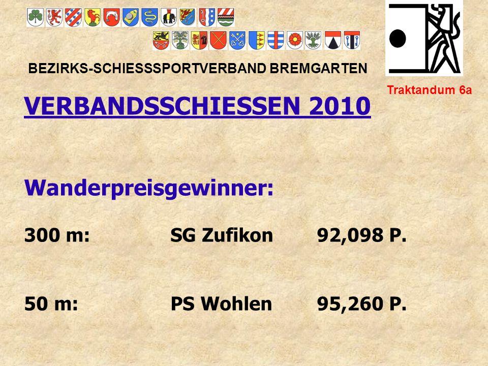 Bezirksmeister 2010 25/50m BEZIRKS-SCHIESSSPORTVERBAND BREMGARTEN Traktandum 6c Standard-Match: 1.