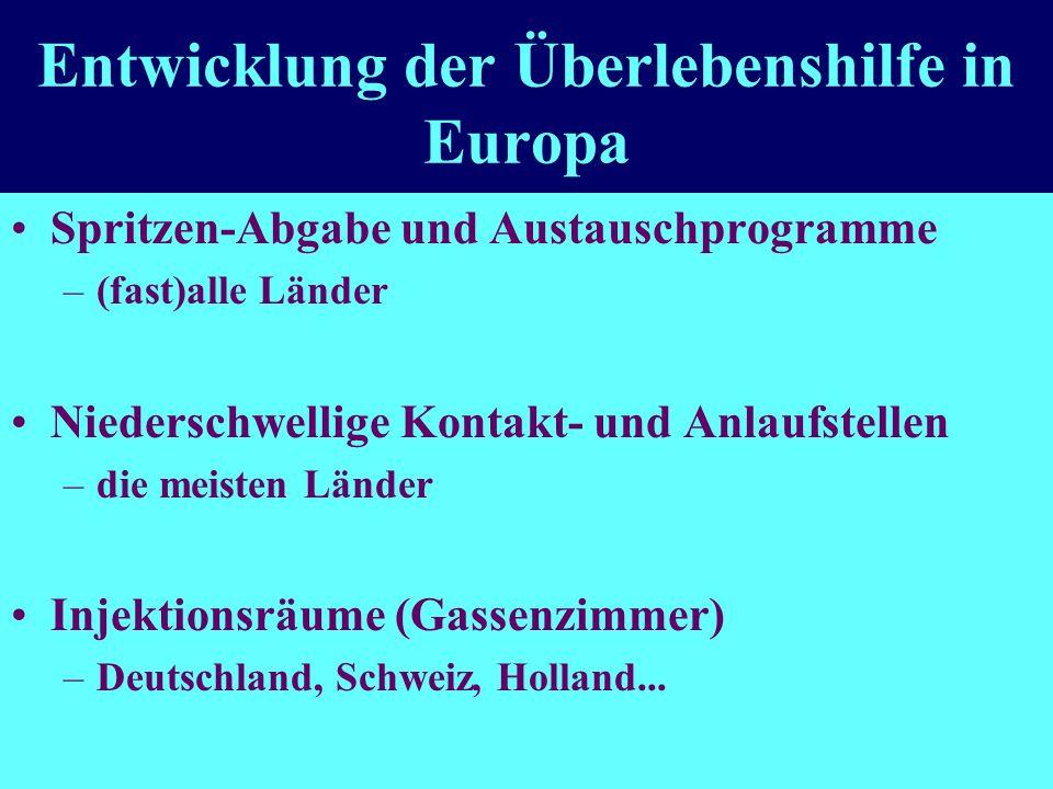 Entwicklung der Überlebenshilfe in Europa Spritzen-Abgabe und Austauschprogramme –(fast)alle Länder Niederschwellige Kontakt- und Anlaufstellen –die meisten Länder Injektionsräume (Gassenzimmer) –Deutschland, Schweiz, Holland...