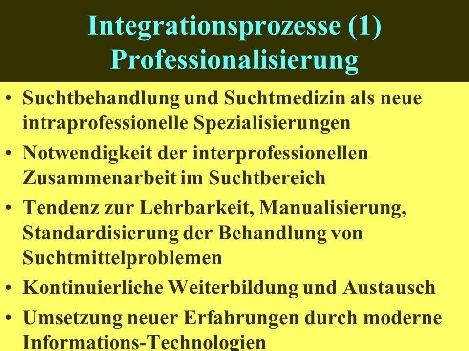 Integrationsprozesse (1) Professionalisierung Suchtbehandlung und Suchtmedizin als neue intraprofessionelle Spezialisierungen Notwendigkeit der interprofessionellen Zusammenarbeit im Suchtbereich Tendenz zur Lehrbarkeit, Manualisierung, Standardisierung der Behandlung von Suchtmittelproblemen Kontinuierliche Weiterbildung und Austausch Umsetzung neuer Erfahrungen durch moderne Informations-Technologien