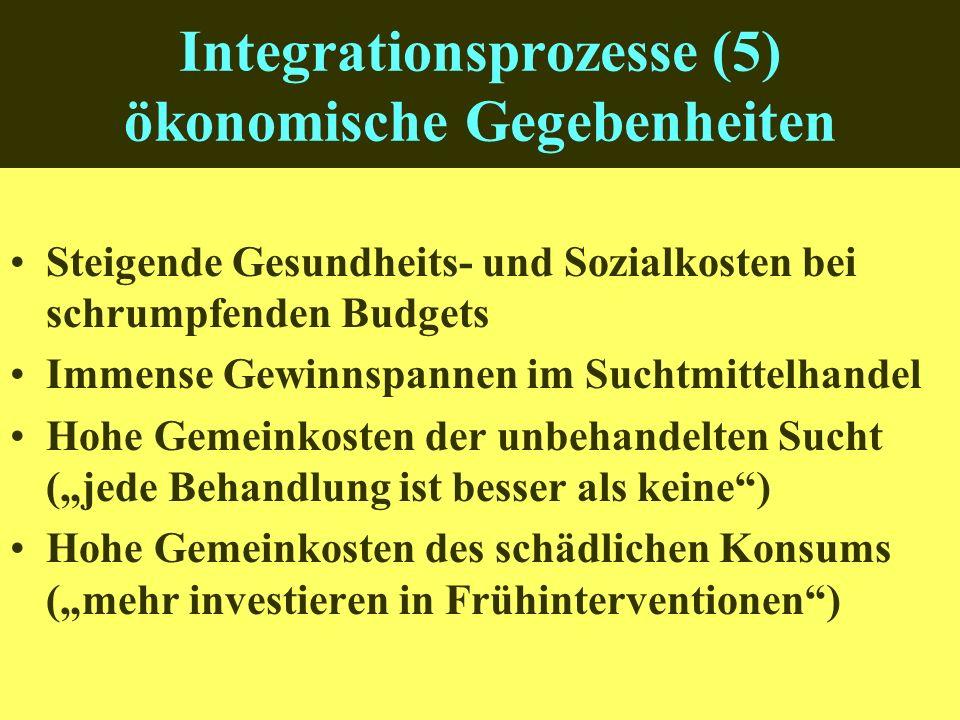 Integrationsprozesse (5) ökonomische Gegebenheiten Steigende Gesundheits- und Sozialkosten bei schrumpfenden Budgets Immense Gewinnspannen im Suchtmittelhandel Hohe Gemeinkosten der unbehandelten Sucht (jede Behandlung ist besser als keine) Hohe Gemeinkosten des schädlichen Konsums (mehr investieren in Frühinterventionen)